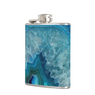Blue Geode Rock Mineral Agate Crystal Image Hip Flask