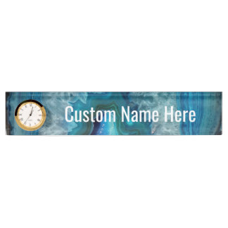 Blue Geode Rock Mineral Agate Crystal Image Name Plate