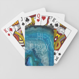 Blue Geode Rock Mineral Agate Crystal Image Playing Cards