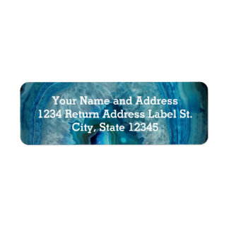 Blue Geode Rock Mineral Agate Crystal Image Return Address Label