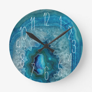 Blue Geode Rock Mineral Agate Crystal Image Round Clock