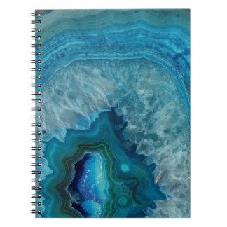 Blue Geode Rock Mineral Agate Crystal Image Spiral Notebook