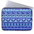 Blue Geometric Abstract Aztec Tribal Print Pattern Laptop Sleeve