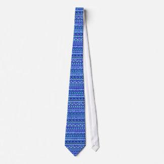 Blue Geometric Abstract Aztec Tribal Print Pattern Neck Ties