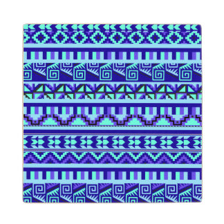 Blue Geometric Abstract Aztec Tribal Print Pattern Wood Coaster
