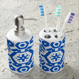 Blue Geometric Aztec 4Walt Soap Dispenser And Toothbrush Holder