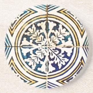 Blue Geometric Azulejo Pattern Coasters