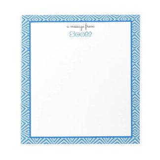 Blue Geometric Border with Monogram Notepad