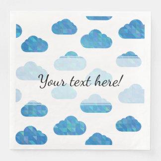 Blue Geometric Clouds Pattern Disposable Napkins