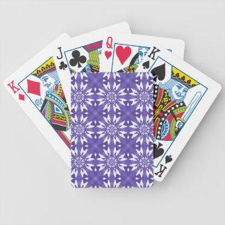 Blue geometric flowers poker deck