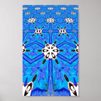 blue geometric grid poster