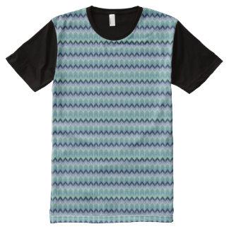 Blue Geometric Retro Pattern All Over Print Tshirt All-Over Print T-Shirt