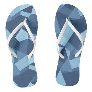 Blue geometric shapes crazy patchwork thongs