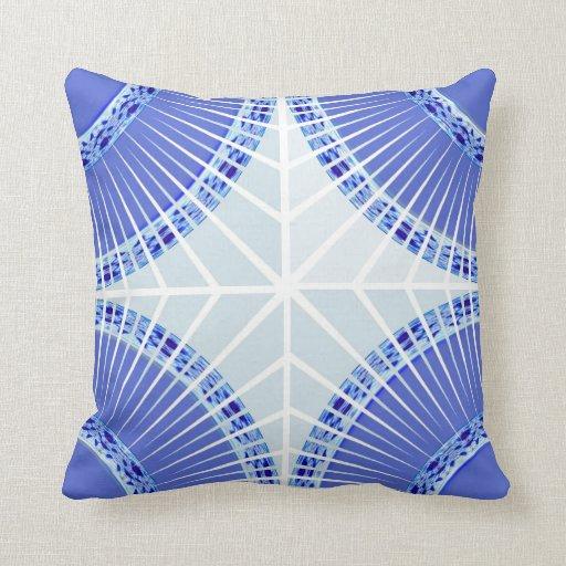 Blue Geometric Stripes American MoJo Pillow