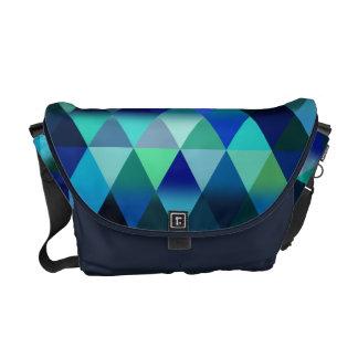 Blue Geometric Triangle Pattern Design Messenger Bags