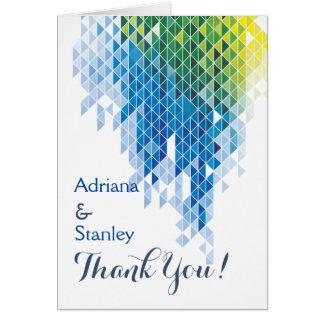 Blue geometric triangles wedding Thank You Card