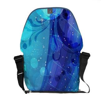 Blue Geometric Vector Swirls Abstract Art Commuter Bags