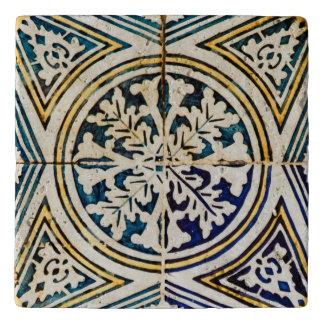 Blue Geometrical Azulejo Pattern Trivets