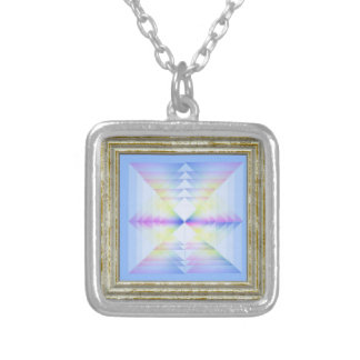 Blue Geometrical Pattern Silver Plated Necklace
