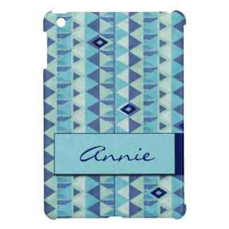 Blue Geometry Pattern Name iPad Mini Case