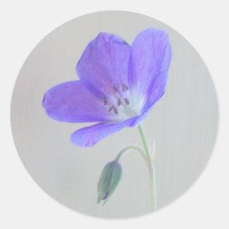 Blue Geranium Round Sticker