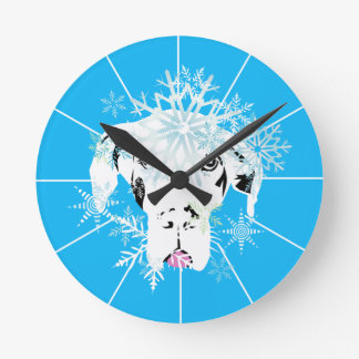 Blue German Dogge Round Clock