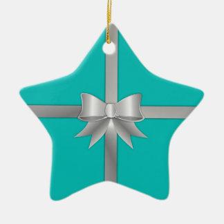 Blue Gift Box Ceramic Ornament