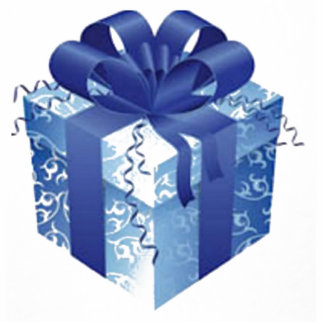 Blue Gift Box with Blue Ribbon Acrylic Cut Outs