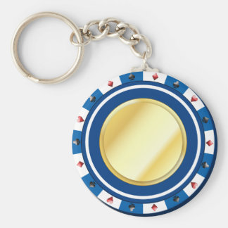 Blue Gilded Poker Chip Keychain