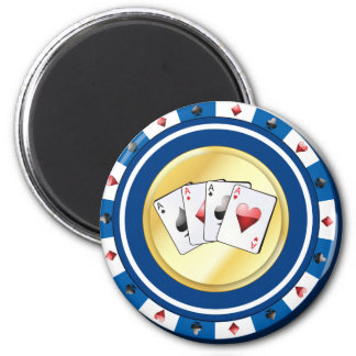 Blue Gilded Poker Chip with Quad Aces Magnet