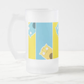 Blue Ginger Cat Frosted Glass Mug