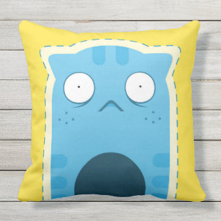 Blue Ginger Cat Outdoor Throw Pillow, 2 sides Outdoor Cushion