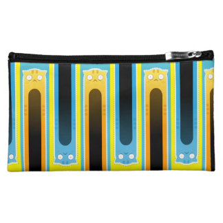 Blue Ginger Cat striped cosmetic bag