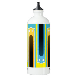 Blue Ginger Cat striped traveller water bottle