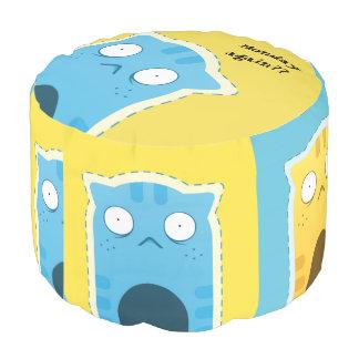 Blue Ginger Cat Sturdy Spun Polyester Round Pouf