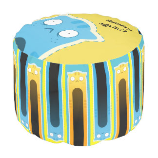 Blue Ginger Cat Sturdy striped Round Pouf