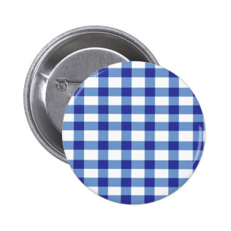 Blue Gingham 6 Cm Round Badge