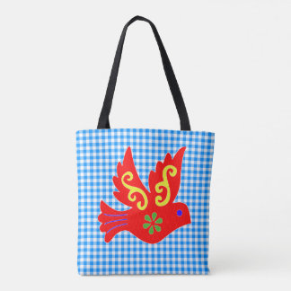 Blue Gingham and Red Bird All Over Print Tote