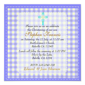 Blue gingham Baby Boy Christening Baptism 13 Cm X 13 Cm Square Invitation Card