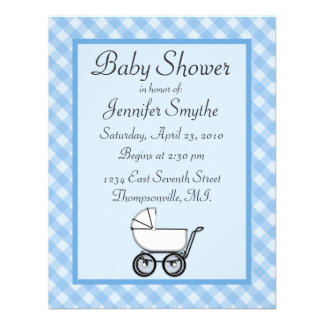 Blue Gingham Baby Shower Invitations