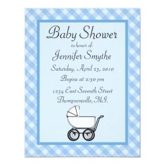 Blue Gingham Baby Shower Invitations
