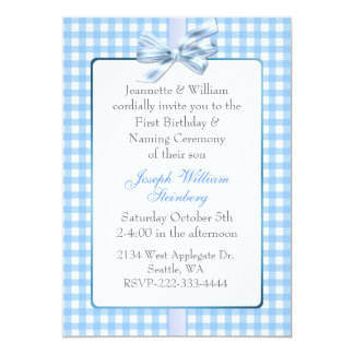 Blue Gingham Baby's Birthday and Naming Ceremony 13 Cm X 18 Cm Invitation Card