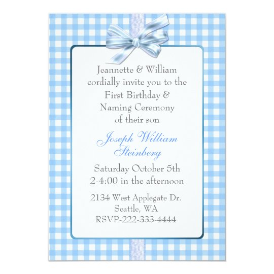 Blue Gingham Babyu0027s Birthday And Naming Ceremony Card