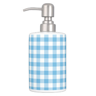 Blue Gingham Bathroom Set