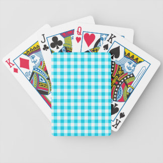 Blue Gingham Bicycle Poker Deck