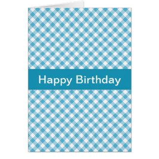 Blue Gingham Birthday Card