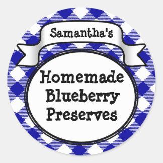 Blue Gingham Blueberry Jelly Jam Jar/Lid Label