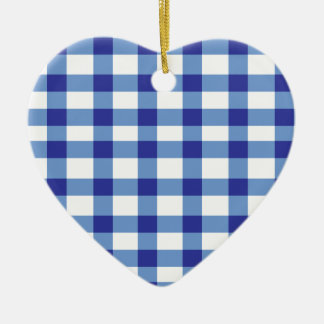 Blue Gingham Ceramic Heart Decoration