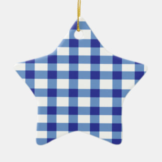 Blue Gingham Ceramic Star Decoration