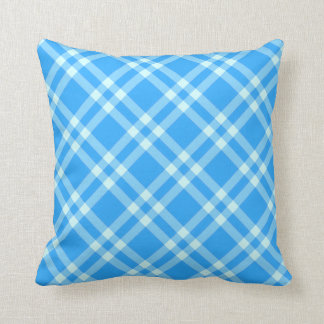 blue gingham check pattern pillow